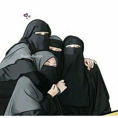 Semoga seperti ini trs y tmn Hijabi Girl, Girl Hijab, Baby Hijab, Friend Cartoon, Girl Cartoon, Muslim Girls, Muslim Women, Muslim Family, Hijab Drawing