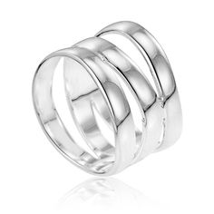 Ornami Sterling Silver Plain Triple Band Ring 23qkoQaVsX