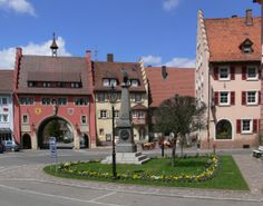 Löffingen, Black Forest, Germany (City hall square and City Gate) ~ Photo: Andreas Praefcke