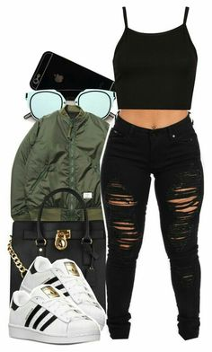 ImageFind images and videos about bomber jacket, black ripped jeans and adidas sneakers on We Heart It - the app to get lost in what you love.