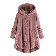 Hot Winter Plus Size Fashion Women Button Coat Fluffy Tail Tops Hooded Pullover Loose Sweater Oversize Jassen Warm Uitlope - Red XXXL United Sta Outfits Leggins, Outfit Jeans, Winter Jackets Women, Coats For Women, Parka Coat, Fur Coat, Wool Coat, Camel Coat, Outfit Vintage