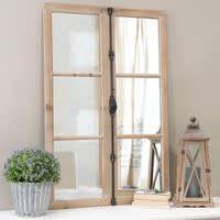 Window Mirror, Fir Wood and Black Metal Vaucluse