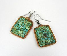 Vintage Hopi tile earrings, turquoise mosaic on cottonwood Four Winds Gallery Sydney