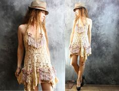Vintage Look Bohemian Fairy Crochet Pansy Layering Tassel Fringe Dress Majik Horse WAITING LIST Made to Order by MajikHorse on Etsy https://www.etsy.com/listing/215838238/vintage-look-bohemian-fairy-crochet