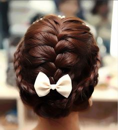 Vintage hair:: Braided updo with bow:: Vintage Bridal Hairstyles:: Vintage Updo