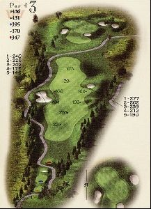 The beautiful Par 4 3rd hole at 436 yards