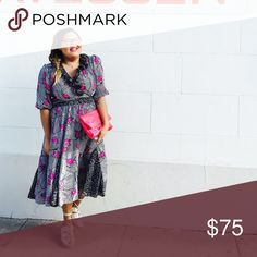 Vintage fit and flare printed dress This gorgeous vintage dress features a mixed print silhouette and a flattering gathered waist that looks amazing on any shape! Size is roughly a 12, but can fit anywhere from a 10-14. From the 80's. Gently loved! Vintage Dresses Midi
