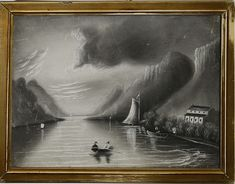 19th c. Hudson River sandpaper picture signed &