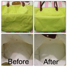 Longchamp bags can be cleaned in the washing machine! Wash alone on delicate cycle, cold water, regular detergent, towel dry after and hang upside down to finish drying. Won't ruin the leather! Worked especially well on brightening light colors to original state, but didn't take out all pen marks/interior stains.