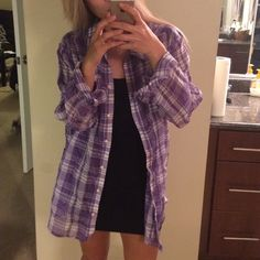 Purple Flanel Not my size but modeled anyway.  ⚠️ I only quote bundles. ⚠️ Use the 'Offer' tool for single items. ⚠️ No Trades. ⚠️ No holds. ⚠️ No soliciting. Tops Button Down Shirts