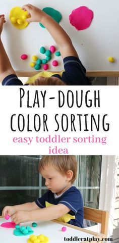 This Play-dough Color Sorting activity is the perfect combination of sensory play and learning! This activity makes learning colors fun! Color Sorting For Toddlers, Color Activities For Toddlers, Activities For 1 Year Olds, Indoor Activities For Kids, Infant Activities, Crafts For Kids, Children Activities, Baby Crafts, Playdough Activities
