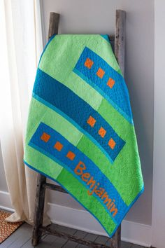 Boy's Baby Quilt, Modern Baby Quilt, Blue and Green Personalized Baby Gift, Geometric Infant Blanket, Nursery Art, Quilted Wall Hanging