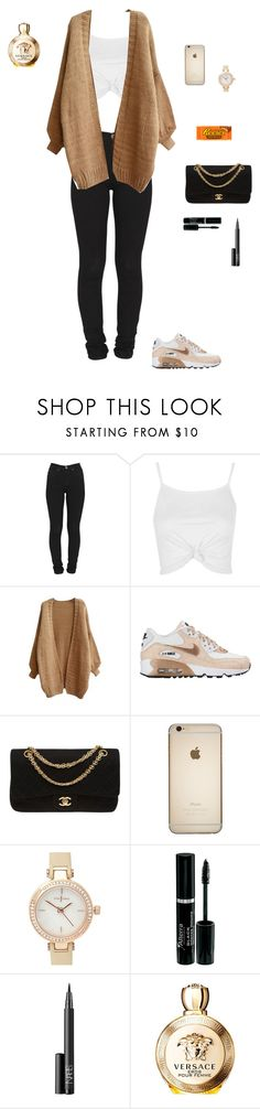 """Senza titolo #268"" by alicemasiero ❤ liked on Polyvore featuring Dr. Denim, Topshop, NIKE, Chanel, J by Jasper Conran, NARS Cosmetics, Hershey's and Versace"