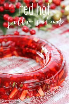 This Red Hot Jello Salad is a bit nostalgic & perfectly delicious! Serve it as a fun side dish for dinner or accompaniment to holiday meals! Jello Desserts, Jello Recipes, Jello Salads, Fruit Salads, Dessert Salads, Blender Recipes, Water Recipes, Dessert Recipes, Salads