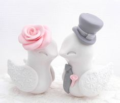 Love Birds Wedding Cake Topper, White, Flamingo Pink and Grey, Bride and Groom Keepsake, Fully Customizable on Etsy, $74.03 AUD