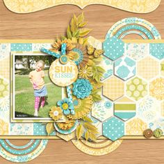 #papercraft #scrapbook #layout  SUN {kissed} Digital Scrapbook Page