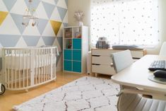 Modern Nursery That Doubles as a Home Office Santiago's Modern Nursery That Doubles as a Home Office — My Room Baby Bedroom, Baby Boy Rooms, Nursery Room, Nursery Ideas, Apartment Nursery, Nursery Grey, Project Nursery, Nursery Inspiration, Bed Room