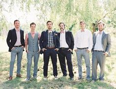 natural-east-coast-maine-wedding-groomsmen-style-plaid-bowtie-uniqie I hate tuxes. I prefer guys to look more unique and themselves. Interesting idea not sure if I would want it or not Mismatched Groomsmen, Groom And Groomsmen Style, Groomsmen Suits, Bridesmaids And Groomsmen, Groom Style, Wedding Men, Wedding Groom, Wedding Pics, Wedding Attire