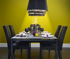 Dining Room, Extraordinary Contemporary Dining Room Lights Square Dining Table For 8 Yellow Dining Room Ideas: Trendy And Bright Yellow Dining Room Ideas 2014 Bright Dining Rooms, Yellow Dining Room, Ikea Dining Room, Dining Room Colors, Country Dining Rooms, Dining Room Design, Dining Area, Contemporary Dining Room Lighting, Modern Lamps