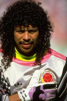 Portrait of Rene Higuita of Columbia during the World Cup Second Round match against Cameroon at the San Paolo Stadium in Naples Italy Cameroon won. Football Icon, World Football, Sport Football, Football Jerseys, Carlos Valderrama, Football Outfits, Sport Icon, Roberto Baggio, Meet The Team