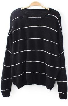 Black Long Sleeve Striped Loose Knit Sweater pictures