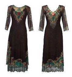 Michal Negrin High Waist Dress w Printed Lycra, Glitter