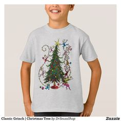 Classic Grinch | Christmas Tree. Producto disponible en tienda Zazzle. Vestuario, moda. Product available in Zazzle store. Fashion wardrobe. Regalos, Gifts. #camiseta #tshirt