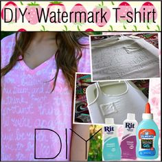 """DIY: Watermark T-shirt"" -- I've pinned before but was thinking about this today... Would be cute for ""big brother/little brother shirts"""