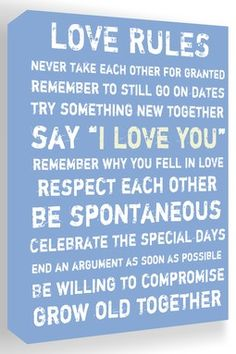 HauteLook | Inspiring Word Play: Love Rules Blue & White Canvas Wall Art