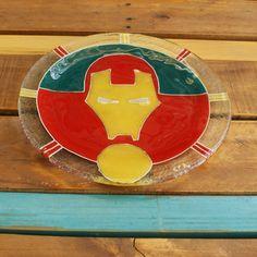 Plato súper héroes Ironman vitrofusión - fusing - fused glass
