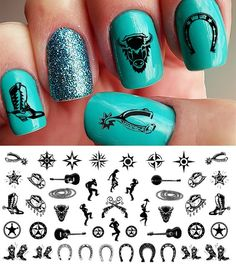 Country and Western Nail Art Waterslide Decals SetNo.1 - Horseshoes, Cowboy Boots- Salon Quality 5.5' X 3' Sheet! ** Learn more by visiting the image link.