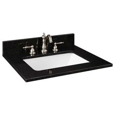 "25"" x 22"" Granite Top - Rectangular Undermount Sink - Single Faucet Hole - Tan Brown"