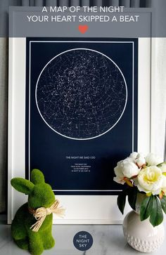 "Was it your first kiss, the birth of a child or that moment you realized your world had changed forever. Give a gift of the stars to always remember that special night. Create an 18"" x 24"" star map of the night your heart skipped a beat. Printed on the finest Matte Art paper using archival ink. This piece of wall art will be treasured for many years to come."