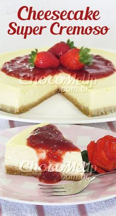 Super Creamy Cheesecake Recipe with Strawberry Syrup. A sweet biscuit-based pie, creamy cream cheese filling and syrup made with strawberry . Brownie Desserts, Oreo Dessert, Mini Desserts, Healthy Desserts, Sweet Recipes, Cake Recipes, Dessert Recipes, Creamy Cheesecake Recipe, Cheesecake Cookies