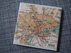 1963 Detroit Michigan Map Coaster  Ceramic  by allmappedout - very cool use for leftover tiles and outdated maps - both of which are in abundance in my house!