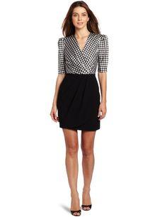 Amazon.com: Vince Camuto Women's Short Sleeve Mixed Media Houndstooth Wrap Dress: Clothing