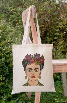 Bolsas de algodón - Bolsa Frida Kahlo Dibujada a mano-NPTB200 - hecho a mano por NATURAPICTA en DaWanda