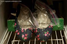Stretch out tight shoes by placing a bag of water in each and leaving them in the freezer overnight.