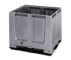 The Big Boxes with ventilation slots are used for example as boxes for the harvest or for the storage of fruits and vegetables. They are made of robust, scratch-resistant plastic material. Smooth inner and outer walls ensure easy cleaning.    Standardized dimensions (ISO 1,200 x 1,000 mm) ensure smooth operation in storage and transport processes.    Also stackable with lid  Superimposed load 4 tonnes  availabe with feet, skids or wheels    Price : £158.28    Weight : 47.00 kg