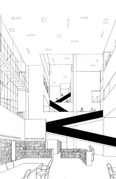 Line drawing directly from CAD to AI are super! Dare to use them! Steven Holl library Berlin