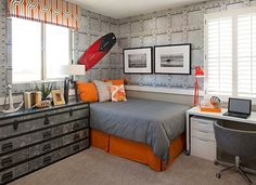 Industrial eclectic kids bedroom with corner bed 7 Practical Ways to Make the Most of Corners in Kids' Room