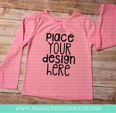 Pink Toddler Girl Shirt Long Sleeve MOCK-UP by PerfectStylishCuts