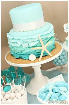 Beach themed wedding cake - Click image to find more Weddings Pinterest pins