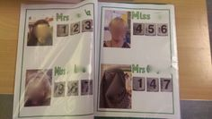Phone book with teachers numbers to call, early maths in Nursery