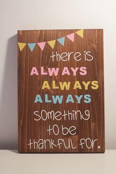 Holzschild mit Zitat / Spruch von Glitter Words +Es gibt eigentlich immer etwas, wofür man dankbar sein sollte. Achte auf Kleinigkeiten, le