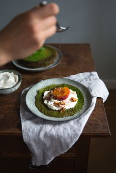 Spinach & Basil Galettes with Goat Cream Cheese & Honey Poached Peaches | Cashew Kitchen