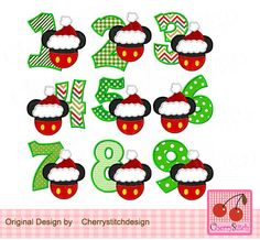Christmas Numbers 1-9,Mouse head with Birthday Numbers 1-9, Mickey Embroidery Design,Minnie Applique Design -for 4x4 5x7 6x10 hoop by CherryStitchDesign on Etsy