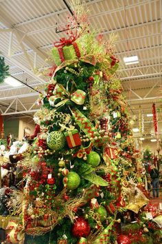 Traditional red, gold and green decorated Christmas tree