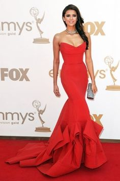 Nina Dobrev...Red carpet dress; If I ever get to go to an awards show.....