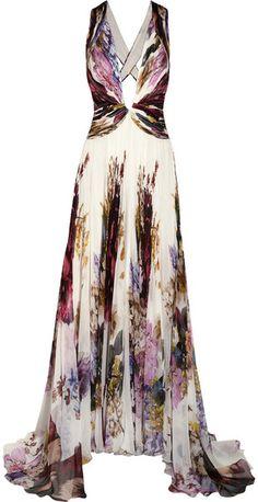 Roberto Cavalli Printed Silk chiffon Gown in Multicolor